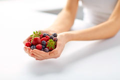 Close up of young woman hands holding berries. Healthy eating, vegetarian food and people concept - close up of young woman hands holding berries Royalty Free Stock Image