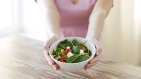 Close up of young woman hands showing salad bowl stock footage