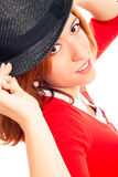 Close up of young woman with hat Stock Image