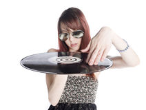 Close up Young Woman Holding a Vinyl Record Stock Image