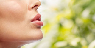 Close up of young woman lips Royalty Free Stock Photos