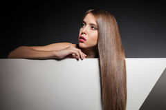 Close-up young woman with long beautiful hair Royalty Free Stock Images