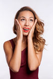 Close-up of a young woman looking surprised on Royalty Free Stock Photos