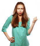 Close-up of a young woman looking surprised Royalty Free Stock Image