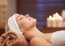 Close up of young woman lying in spa Royalty Free Stock Images