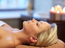 Close up of young woman lying in spa Royalty Free Stock Photography