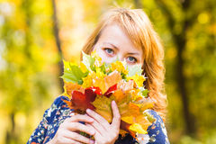 Close-up of young woman with maple autumn leaves. Close-up young woman with maple autumn leaves Royalty Free Stock Image