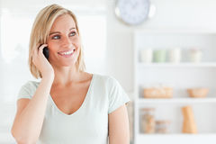 Close up of a young woman on phone Royalty Free Stock Images
