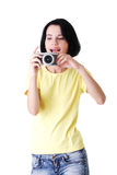 Close-up of a young woman photographer Royalty Free Stock Photography