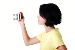 Close-up of a young woman photographer Stock Photography