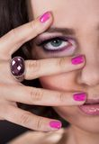 Young Woman With Pink Nail Varnish Stock Photo
