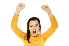 Close-up of a young woman raising her arms Stock Photography