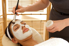 Close-up of young woman receiving beauty treatment in spa Royalty Free Stock Images