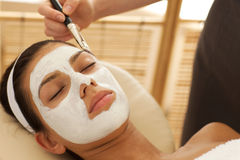 Close-up of young woman receiving beauty treatment in spa Royalty Free Stock Photos