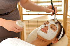 Close-up of young woman receiving beauty treatment in spa Stock Photos