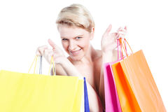 Close up of young woman with shopping bags Royalty Free Stock Photos