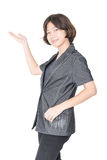 Close up young woman short hair with shirt Stock Photo