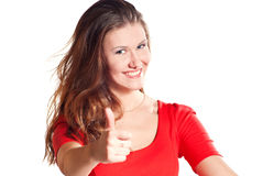 Close-up of a young woman showing thumbs up Stock Images