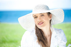 Close-up Of A Young Woman Smiling At The Beach Royalty Free Stock Image