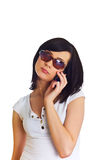 Close up of young woman  talking on mobile phone. Close up of young woman talking on mobile phone Stock Photography