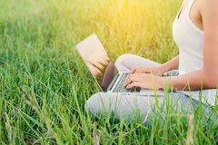 Close-up of young woman using laptop at meadows. Close-up of young woman using laptop at meadows background Royalty Free Stock Photography