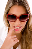 Close up of young woman wearing sunglasses Royalty Free Stock Photo