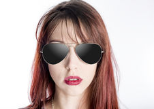 Close Up of Young Woman Wearing Sunglasses Stock Photos