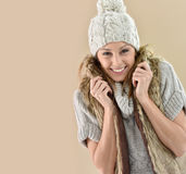 Close-up of young woman wearing winter accessories Royalty Free Stock Photo