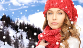 Close up of young woman in winter clothes Stock Images