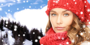 Close up of young woman in winter clothes Stock Photos