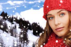 Close up of young woman in winter clothes Stock Image