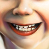 Close up of a young womans face - digital art. Digital painting of a close up view of a little girls smile Royalty Free Stock Photography