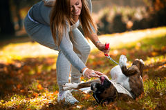 Close-Up Of A Young Women With Her Dog Royalty Free Stock Photos