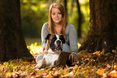 Close-Up Of A Young Women With Her Dog Royalty Free Stock Image