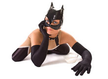 Close-up of ypung girl in cat mask (isolated on wh Stock Photos