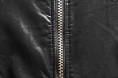 Close up of zip on leather. Close up of zip on black leather material Royalty Free Stock Photo