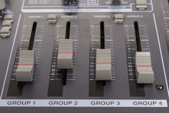 Close-up zone of subgroup and mix routing in an audio mixer Stock Photography