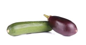 Close up of zucchini and eggplant. Stock Photos