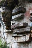 Close-upbeeld van een berg-muur met sommige hangende doodskisten, Sagada, Luzon, Filippijnen stock afbeeldingen