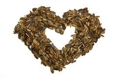 Close-upbeeld van het hartstijl van zonnebloemzaden royalty-vrije stock afbeelding