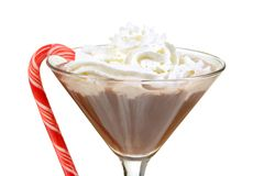 Close-upchocolade martini met pepermuntstok Stock Afbeelding