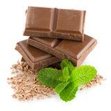 Close-updetail van chocoladedelen Stock Foto