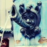 Close-updetail van middeleeuwse fontein, Luzerne, Zwitserland Stock Foto