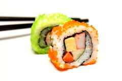 Close-updetail van nigirisushi Stock Afbeelding