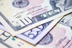 Close-updollars, het Amerikaanse Geld van het Dollarscontante geld, Dollarbankbiljetten Stock Afbeeldingen