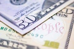 Close-updollars, het Amerikaanse Geld van het Dollarscontante geld, Dollarbankbiljetten Royalty-vrije Stock Foto