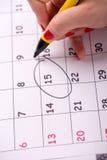 Close-upfoto van kalender met een gegeven Royalty-vrije Stock Foto