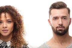 Close-upgezicht van een man en een vrouw Stock Foto
