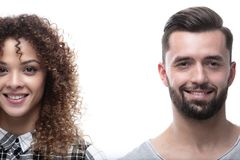 Close-upgezicht van een man en een vrouw Stock Fotografie