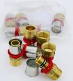 Close-upgroep het systeemhitte van het kleppenwater Stock Afbeeldingen